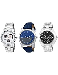 DCH IN-77.97.37 Pack Of 3 Metel And Leather Strap Analogue Wrist Watch For Men And Boys