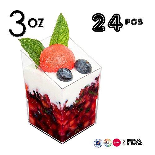 Mini Dessert Becher, 24PCS/Set Elegante Klar schräg Zylinder Mini Dessert Vorspeise Tasse, Kunststoff Tasting Probe Schnapsgläser Parfait Glas/Jello Tumbler Souffle Cups (Dessert Parfait)