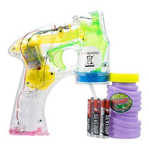 Trendario - Seifenblasenpistole mit LED Beleuchtung inklusive Seifenblasenlösung & Batterien┃Komplett-Set┃ ideal für Kinder, zum Geburtstag, Party, Fasching, Karneval ┃ Mitgebsel