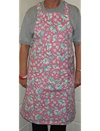 Apron, Floral design aprons, generous size + large pocket, choice of colour, Order ONLINE now only £5.99 each + P&P (Pink Background with Floral Design)***