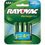 Rayovac Recharge PLUS High-Capacity Rechargeable 900 MAh NiMH AAA Pre-Charged Batteries, (PL724-4) By Rayovac