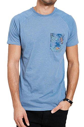 Threadbare Herren Blusen T-Shirt, Einfarbig blau blau Small Denim Marl - Blue