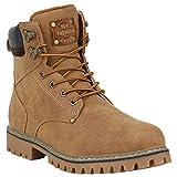 Stiefelparadies Herren Schuhe Outdoor Worker Boots Schnürstiefel Profilsohle 152458 Hellbraun Carlton 45 Flandell
