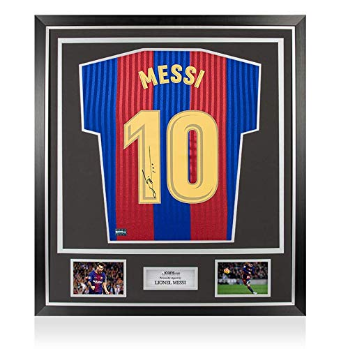 This superb 1992 style FC Barcelona home shirt has fan style numbers printed on to it that were personally signed by Barca icon and global megastar Lionel Messi during a private signing session organised and conducted by Icons in Barcelona on Septemb...