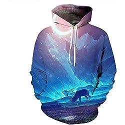 Sweatshirt Männer/Frauen 3D-Druck Hoodies Grün Galaxy Hoody Langarm Herbst Thin Hooded Tops O Hals Oberbekleidung, QYDM 132, XL