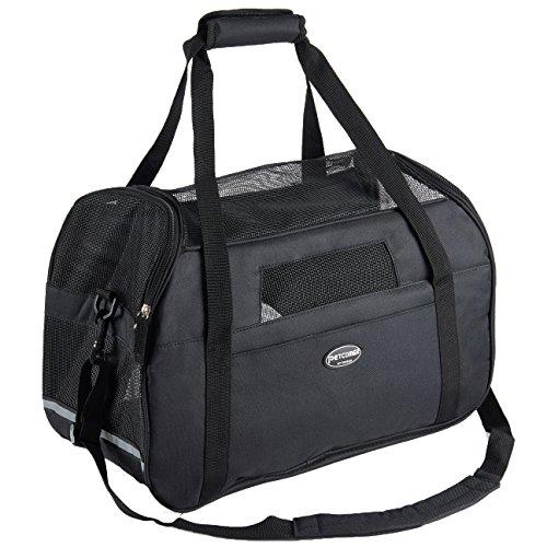 Tragetasche für Hunde & Katzen mit Tragegriff und Schultergurt Hundetasche Komfort Airline Genehmigte Hundetasche Weich-seitig Hund Tasche mit Matte belastet 6 kg Schwarz