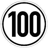 100 kmh Aufkleber für Anhänger, Wohnwagen, usw. [20cm] nach DIN 1451