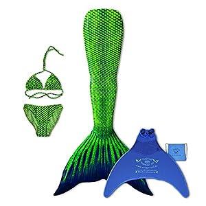 magictail Original Meerjungfrauenflossen zum Schwimmen für Kinder und Erwachsene mit Kostüm, Bikini, Flosse und Tasche Aquarius S