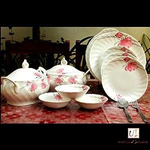 Unravel India Bone China Dinner Set Flower Print Pink (23 Pcs)