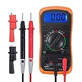 Proster Multímetro Digital / Mini Multímetro Portátil Medidor DMM para Medir Corriente DC Amperímetro AC Voltímetro Ohmímetro Continuidad con LCD Retroiluminada Batería Incluida