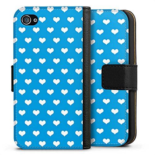 Apple iPhone X Silikon Hülle Case Schutzhülle Herz Blau Polka Sideflip Tasche schwarz
