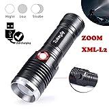 GKOKOD Hiilight LED Taschenlampe,Tragbar Xml-L2 Draussen USB LED Taschenlampe Wiederaufladbar Hell 18650/28650 Licht Lampe
