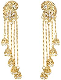 Aadita Traditional Gold Plated Pearl Jhumka Earrings For Women And Girls -DT1636ER