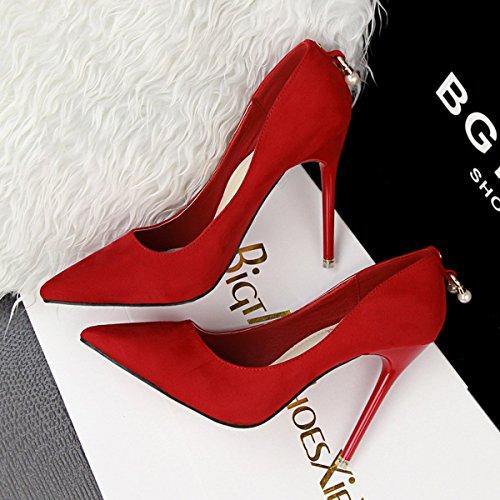 JNTworld Femmes Faux Suede Haute Mince Stiletto Bout Pointu Pompes Habillées Rouge
