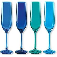 KADOR blau Packs Sektglas, verschiedene Farben 4–Material: Glas–Farbe: Blau Ente, dunkelblau, blau türkis–Stielglas–Bruno Evrard