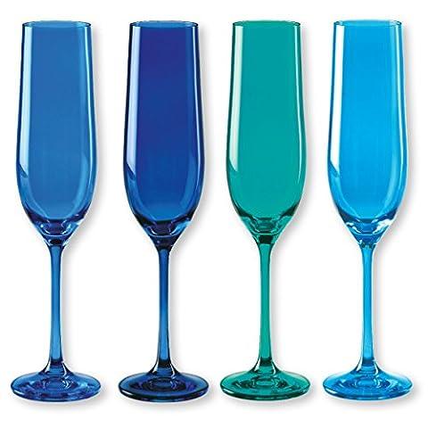 KADOR blau Packs von 4Sektflöte verschiedene Farben