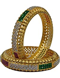 Ratnavali Jewels Beautiful CZ/AD Studded Gold Plated Traditional Antique Red Green Golden Bangles Kada Set For...
