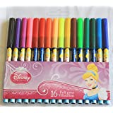 Disney Royal Princess Colouring Felt Tip Pens - Pack of 16 with Cinderella
