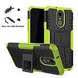 LiuShan LG Q7 Hülle, Dual Layer Hybrid Handyhülle Drop Resistance Handys Schutz Hülle mit Ständer für LG Q7 Smartphone (mit 4in1 Geschenk Verpackt),Grüne