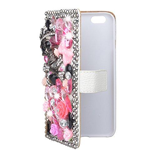 Evtech (TM) teschio con strass Bling glitter custodia a portafoglio in pelle PU a libro con borsetta porta cellulare e della carta, similpelle, Skull, iPhone6 plus/iPhone 6s plus
