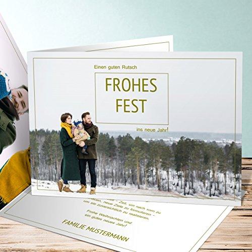 Preisvergleich Produktbild Weihnachtskarten mit Kuvert, Klarer Blick 10 Karten, Horizontale Klappkarte 148x105 inkl. weiße Umschläge, Braun