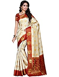 Mimosa Women's Silk Saree (200-Hwt-Mrn,Off White,Free Size)
