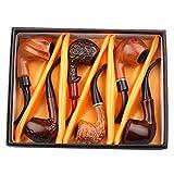 JTYP Hölzerne Tabak-Rohr-Geschenk-Box mit 6 Acryl Pfeifenhalter -