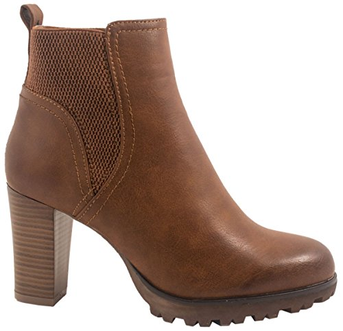 Elara Ankle Boots | Trendige Damen Stiefeletten | Blockabsatz Plateau | Chunkyrayan 949-GA-Camel-36