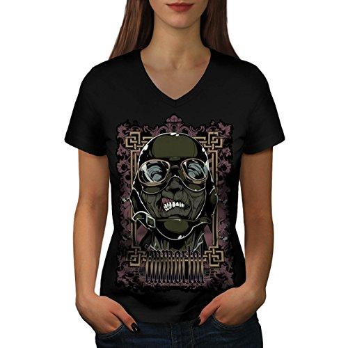 Zombie Pilot Rose Mode Grausam Flieger Damen M V-Ausschnitt T-shirt | Wellcoda