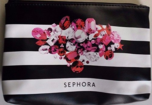 sephora-stripe-black-white-pink-red-gem-zipper-pouch-cosmetic-makeup-bag