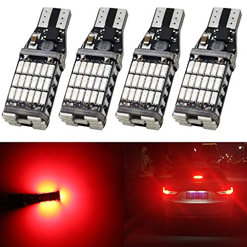 AMAZENAR 4-Pack 921 912 922 T15 W16W T10 Brillant Rouge 12V-24V Non-Polarité Canbus Sans Erreur AK-4014 45pcs Chipsets Ampoules LED pour Centre de Voiture Feux de Freinage de Stop