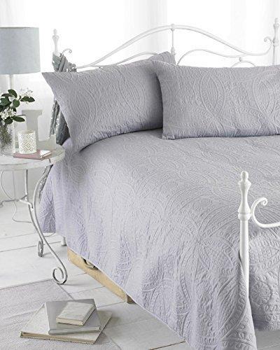 Grau wendbar geprägt Tagesdecke, gesteppt, Parisienne, inkl. 2Kissenhüllen, 240cm x 260cm, Doppelbett/King Size von Ideal Textiles