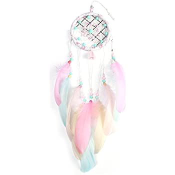 Vosarea Feather Dream Catcher Traditional Handmade Dream Catcher for Wedding Birthday Party Home Wall Hanging Decoration (Pink)