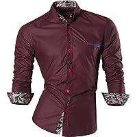 jeansian Uomo Camicie Maniche Lunghe Moda Men Shirts Slim Fit Casual Long Sleves Fashion Z027