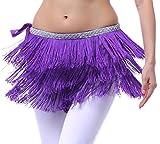 Hüfttuch Bauchtanz Tuch Samba Rock mit Fransen Tanz Kostüm, Violett, XL