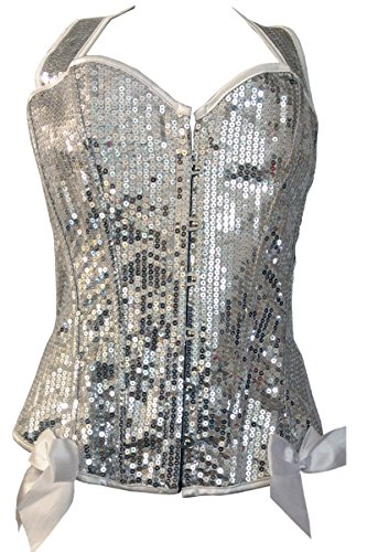 Silver Sequin Halter Neck Overbust Corset Top Size Medium