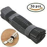 FOGAWA Tie Cable 50pcs Attache Cable Bande Adhésif en Couleur Noir Sangle Cable pour l'arrangement de Cables électriques ou des Fils en Tout Genre