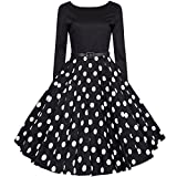 50s Vintage Rockabilly Tupfen Retro Polka Dots Hepburn Stil Nach Dem V-Ausschnitt Mit Langen Ärmeln Kleid Schwingen Cocktailkleid Schwarz XXXXL