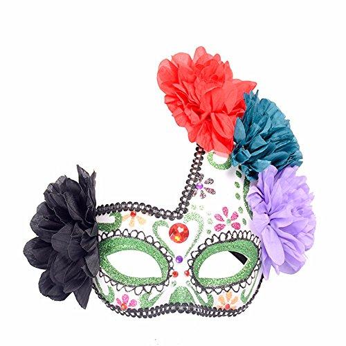 Maskerade,Halloween Maske halb Gesicht Seite Blume gemalt Prinzessin Maske Make-up Tanz Party Maske Masquerade