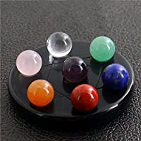 AITELEI Figura de Bola de Cristal Natural de 7 Chakras con Forma de Bola de Cristal Natural para Reparar Reiki con Base obsidiana Negra para Decoración del hogar