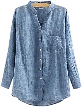 ZAMME De la Mujer 3/4 lino flojo Office Lady Shirt