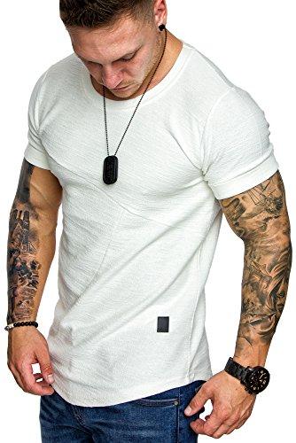 Amaci&Sons Herren Oversize Vintage Crew-Neck T-Shirt Sweatshirt 6064 Weiß M