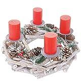 Mendler Adventskranz rund, Weihnachtsdeko Tischkranz, Holz Ø 35cm weiß-grau ~ mit Kerzen, rot