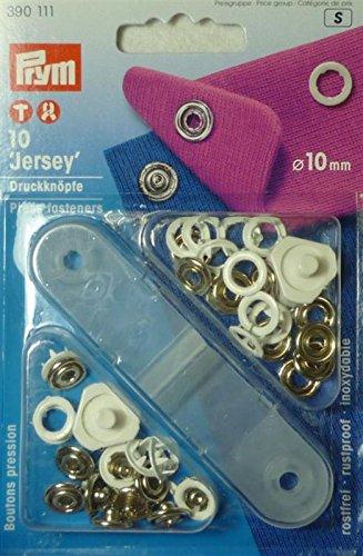 Prym 10mm Nähfrei Druckknöpfe Jersey mit ist Ring, 10Stück, Weiß (Wolle Stoff Jacke Mantel)