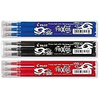 Pilot Frixion–Juego de bolígrafos roller de tinta–3minas de repuesto Sets de 3unidades cada uno en los colores verde claro, marrón, naranja 3x3 Set blau rot schwarz