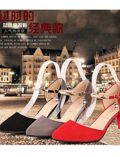 UWSZZ IL Sandali eleganti comfort Scarpe Donna-Scarpe col tacco-Matrimonio / Ufficio e lavoro / Casual-Tacchi / A punta-A stiletto-Finta pelle-Nero / Rosso / Grigio gray