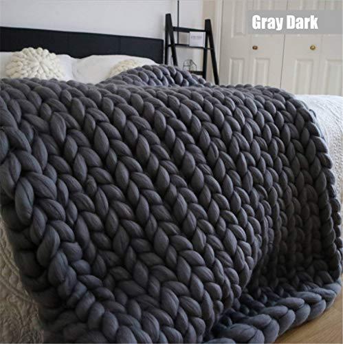 UNIQUE-F Grau Handgemachte Chunky Strickdecken Wolle Warme Strick Werfen Bett Sofa Super Weiche Yogamatte 120x150 cm Dark Gray -