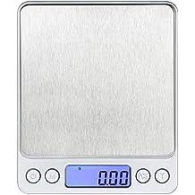 kkaaee Ustensiles de cuisine électrique balance de cuisine, Haute Précision jusqu'à 0,1g (3kg Poids maximal), Balance numérique Balance, mini, Balance de cuisine Pèse-lettre,, fonction tare, mesurer des ingrédients, doré, timbres