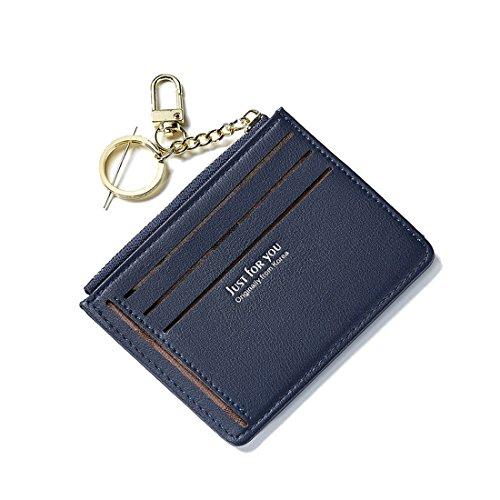 Schlanke Brieftasche Deman Mini Portemonnaie Leder Portmonee Kreditkarteninhaber Geldbeutel Münzfach Slim Wallets für Frauen und Mädchen Kleiner dünner Geschenk mit Schlüsselanhänger Dunkelblau