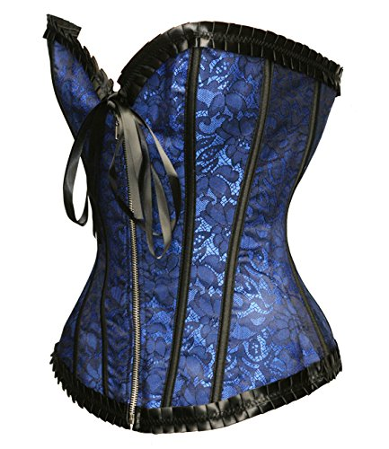 Bslingerie® - Corsetto da donna in broccato, con perizoma abbinato, colore: nero Blu